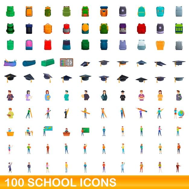 学校のアイコンを設定します。白い背景に設定されている学校のアイコンの漫画イラスト Premiumベクター
