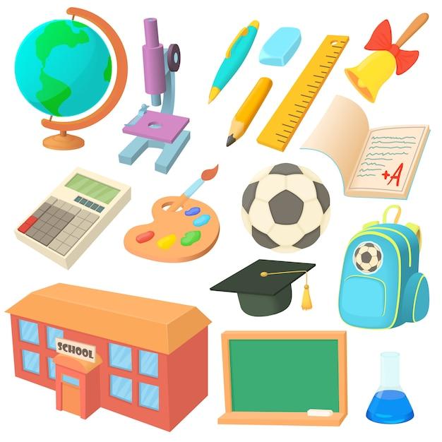 School icons set in cartoon style Premium Vector