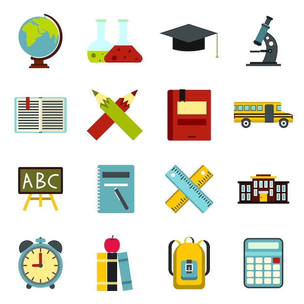 School icons set, flat ctyle Premium Vector