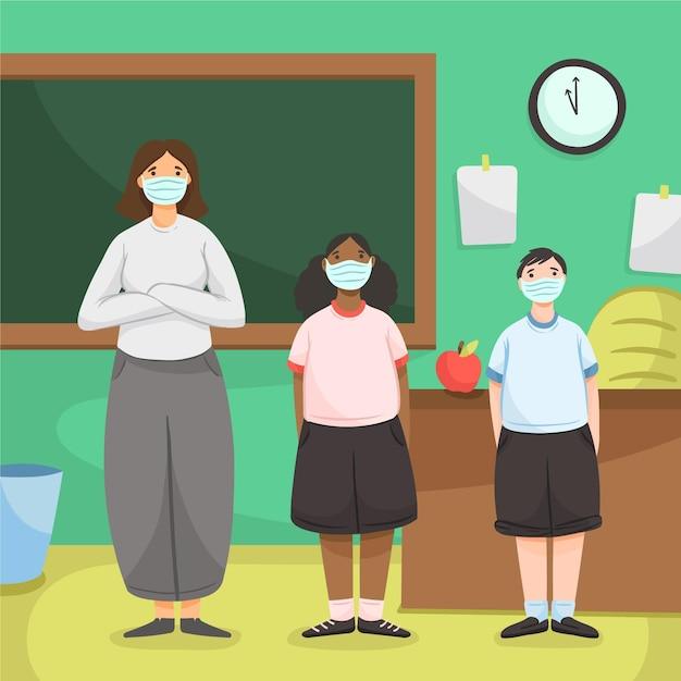 Школа в новой нормальной Бесплатные векторы
