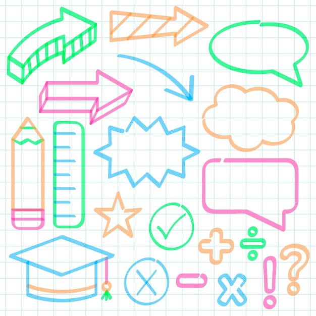 School infographic elements with colorful markers Free Vector