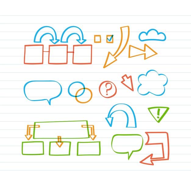 Infografica scuola con elementi disegnati con pennarello Vettore gratuito