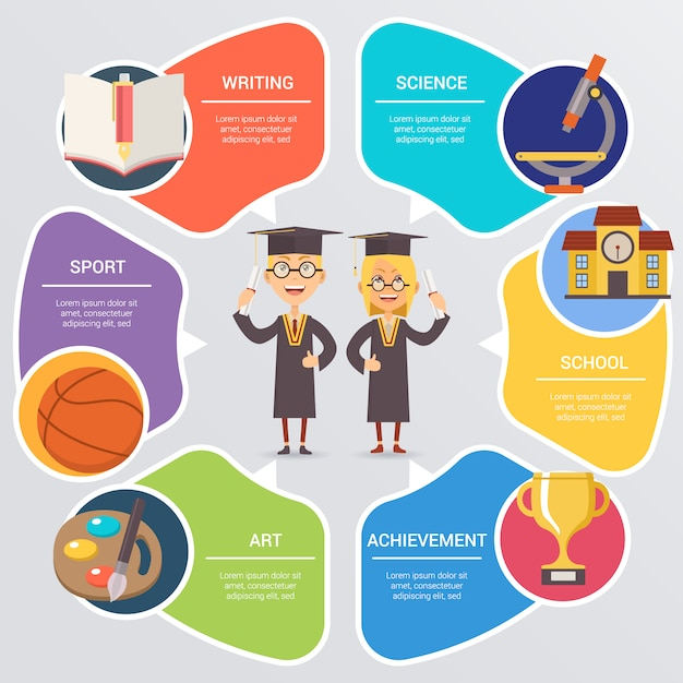 School infographic with students Vector | Free Download