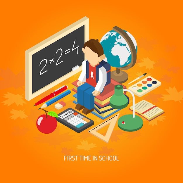 School isometric concept poster Free Vector