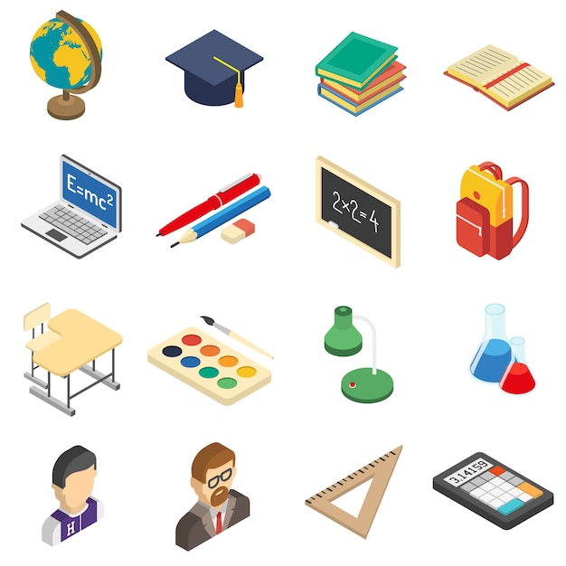 School isometric icons set Free Vector