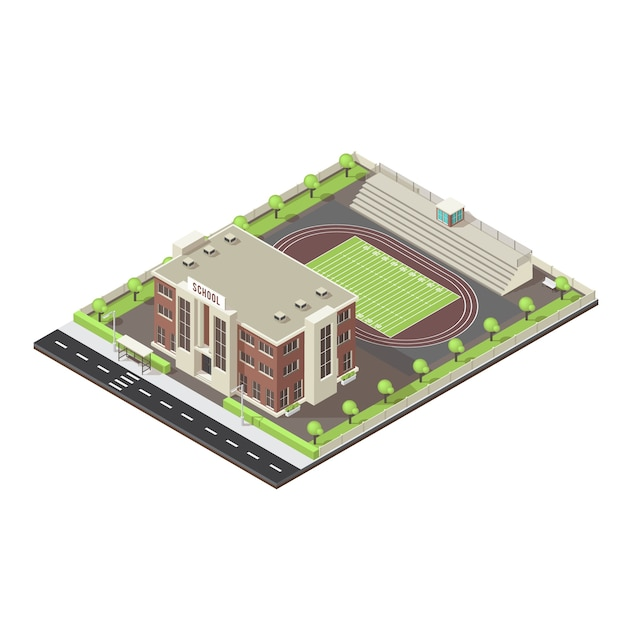 School isometric layout Free Vector