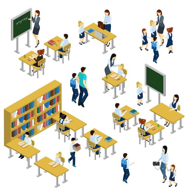 School isometric set Free Vector