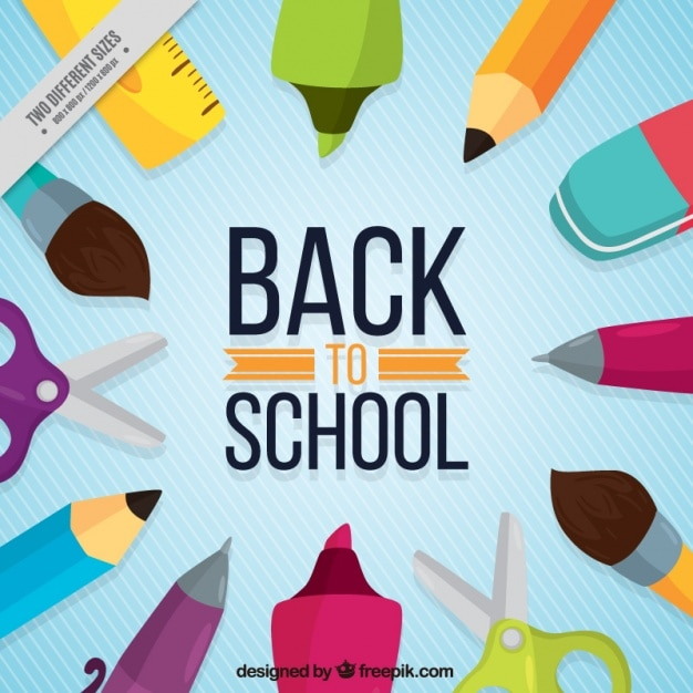 School items on blue background with white lines