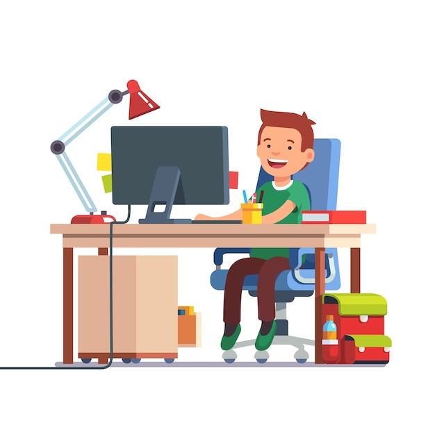 School kid boy studying in front of the computer Free Vector