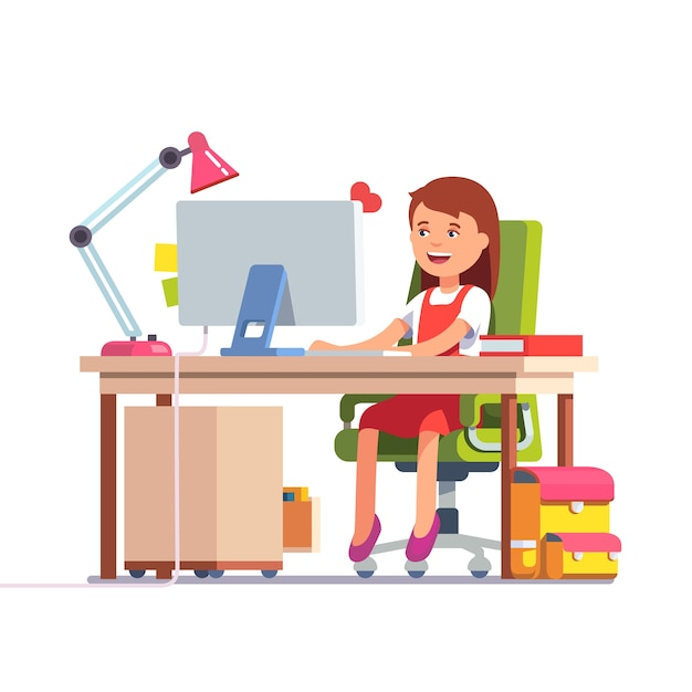 School kid girl studying in front of the computer Free Vector