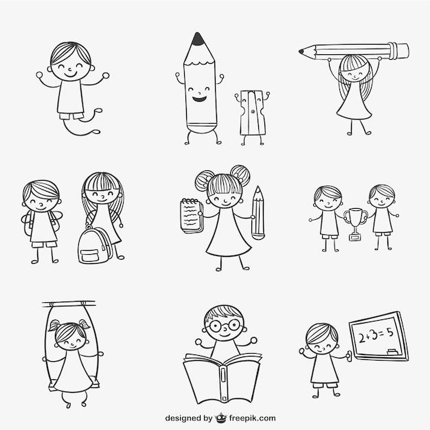 Vector Drawing Lines Kindergarten : School kids doodles vector free download