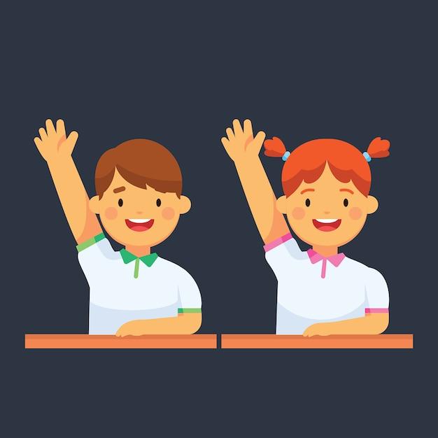Premium Vector | School kids raise their hand at class