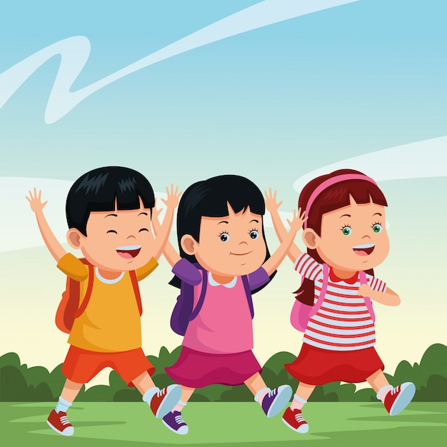 School kids smiling with backpacks Free Vector