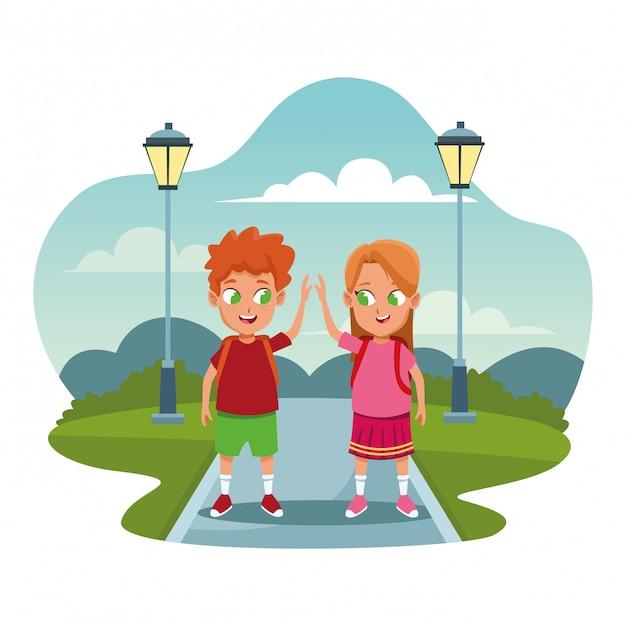 School kids with backpack cartoons Free Vector