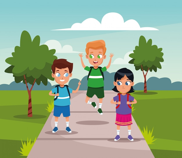 School kids with backpack at park Free Vector