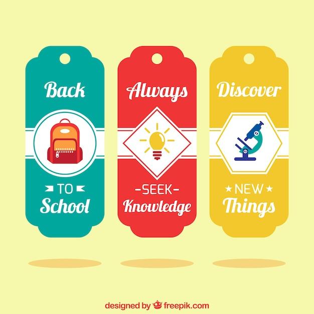 School labels set Free Vector