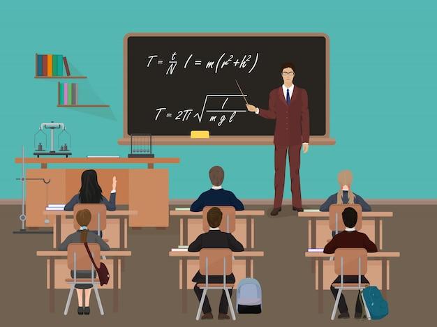 School lesson in classroom Premium Vector