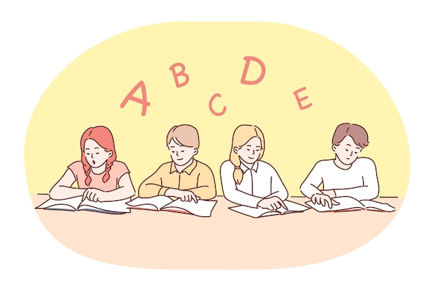School, lesson, learning letters and alphabet, education concept. Premium Vector