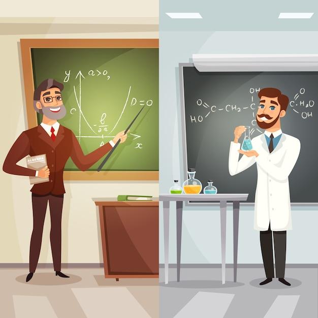 Школьные уроки мультфильм вертикальные баннеры Бесплатные векторы