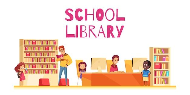 Biblioteca scolastica con le casse e i computer di libro degli studenti sul fumetto bianco del fondo Vettore gratuito