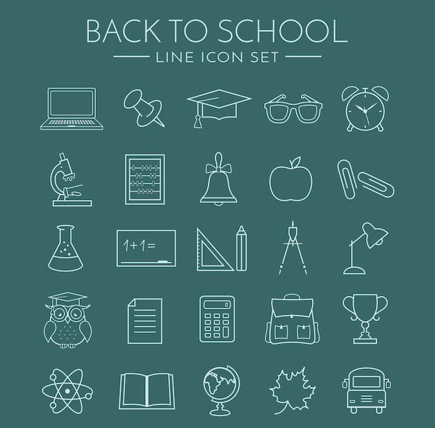 School line icons Premium Vector