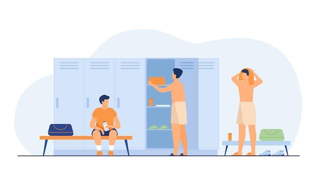 학교 라커룸 절연 평면 벡터 일러스트 레이 션. 훈련 후 옷을 갈아 입으십시오. 무료 벡터