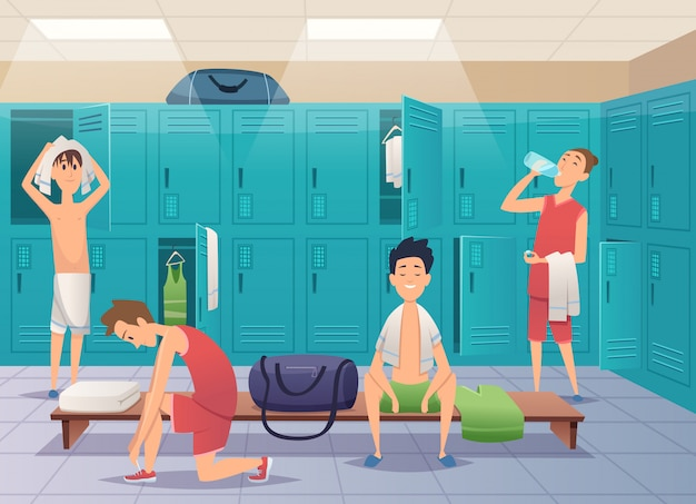 학교 탈의실. 대학 만화 배경에서 아이들과 함께 스포츠 체육관 사물함 프리미엄 벡터