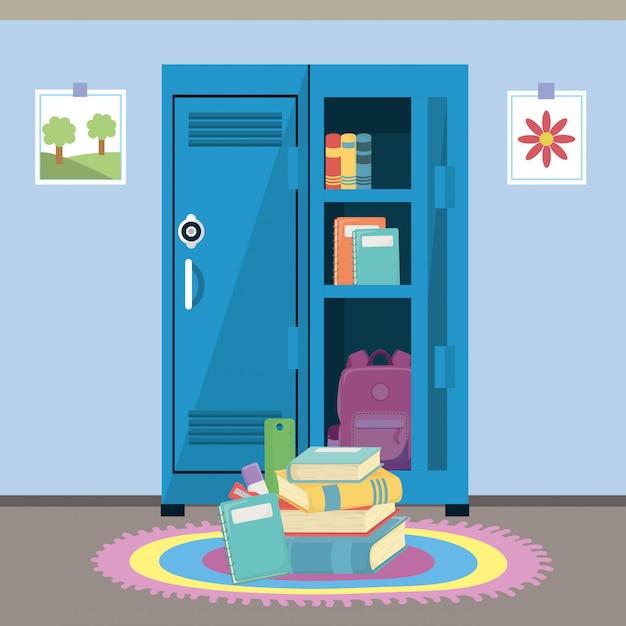 School locker and supplies Free Vector