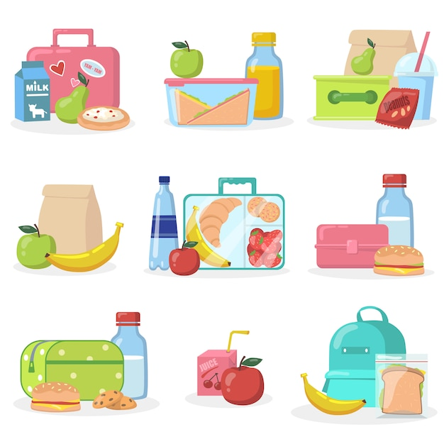 School lunchboxes with snacks flat icon set Free Vector