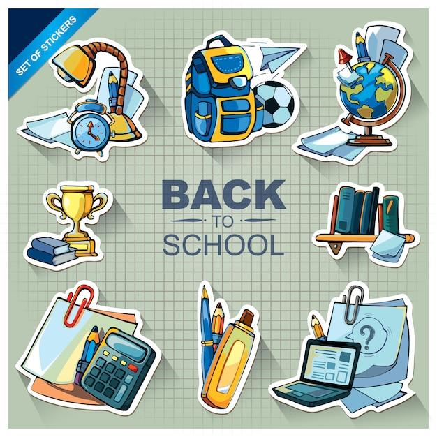 School material doodle set Premium Vector