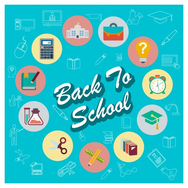 School material icon collection Free Vector