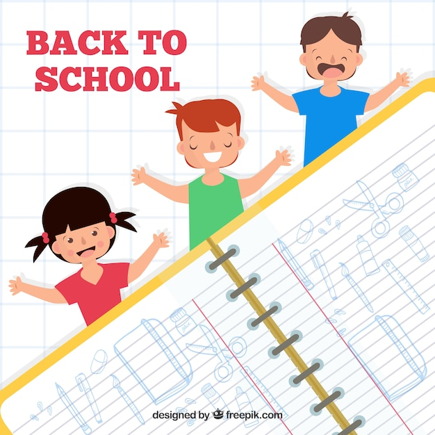 School notepad background with happy children