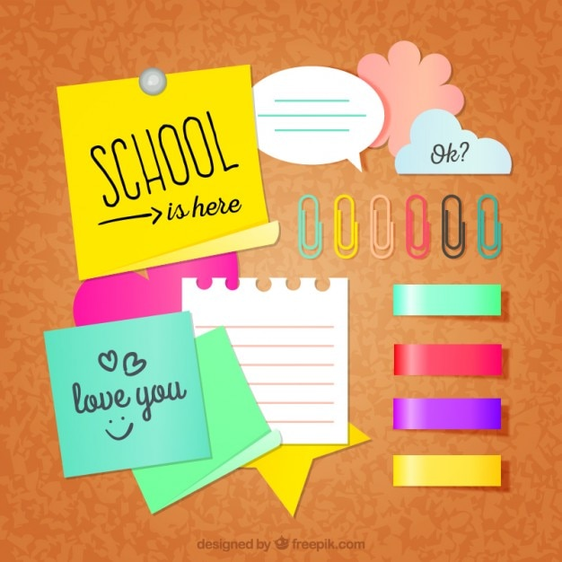 School Notes Pack Vector Free Download