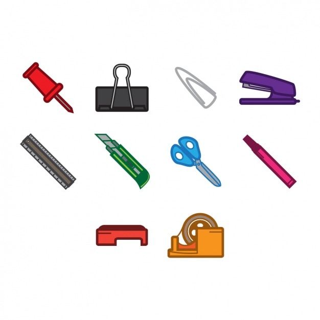 School object icons collection Free Vector