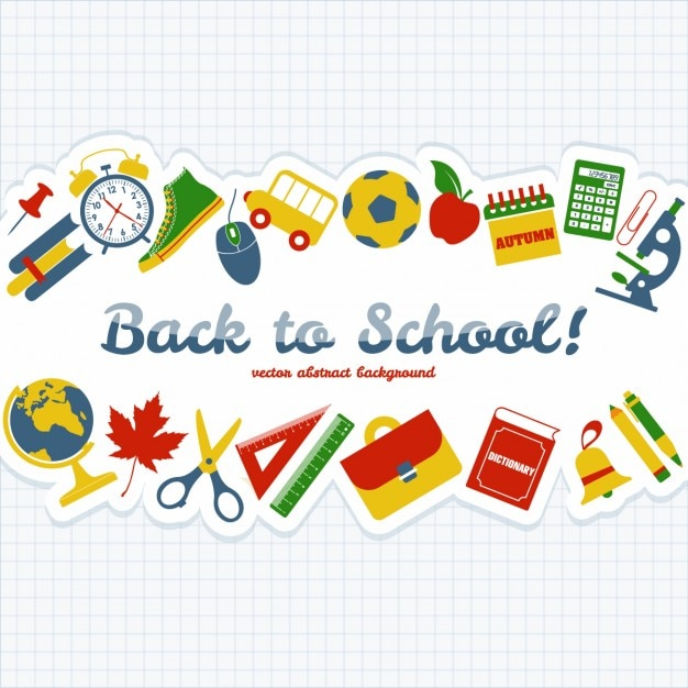 School objects background Free Vector