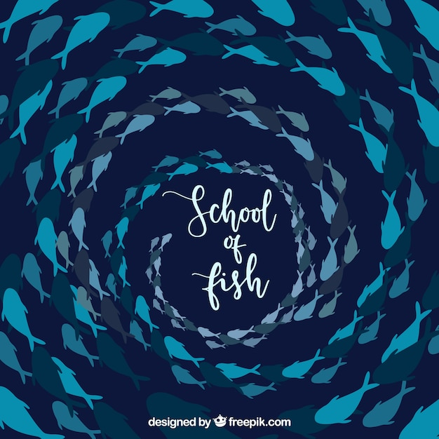 School of fishes background in hand drawn\ style