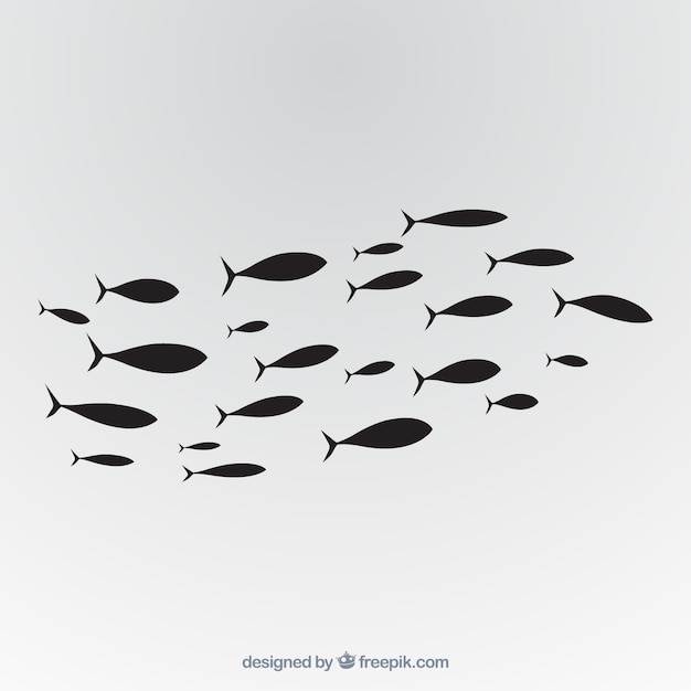 물고기의 학교 배경 손에 그려진 스타일 무료 벡터