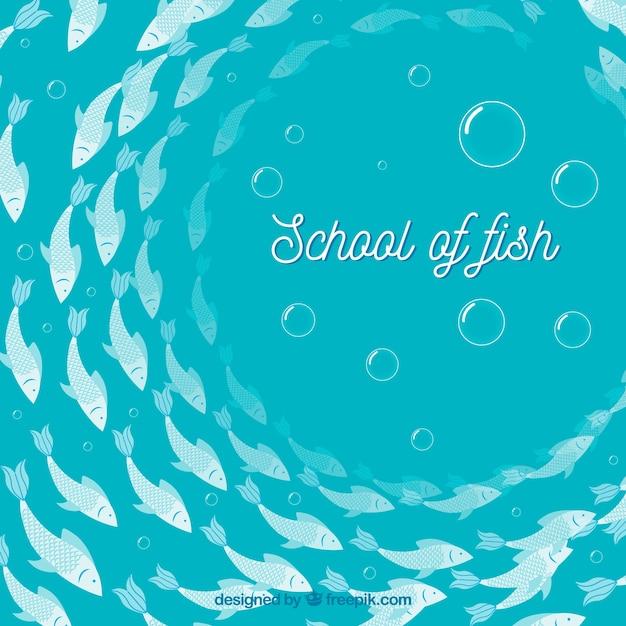 평면 스타일에 깊은 바다와 물고기 배경 학교 무료 벡터