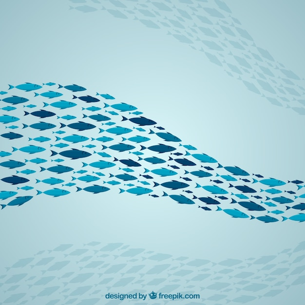 School of fishes background with deep sea in flat style Free Vector