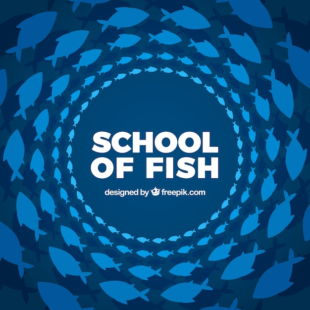 School of fishes background with deep sea in\ flat style