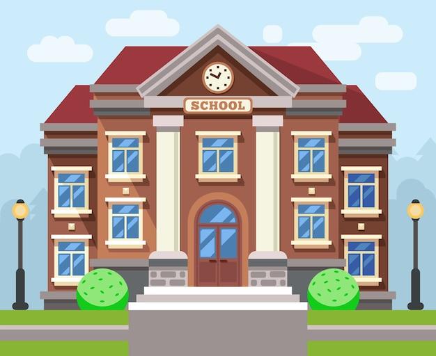 학교 또는 대학 건물. 벡터 평면 교육 개념입니다. 교육 학교, 건물 학교, 연구 학교 또는 대학 일러스트레이션 무료 벡터