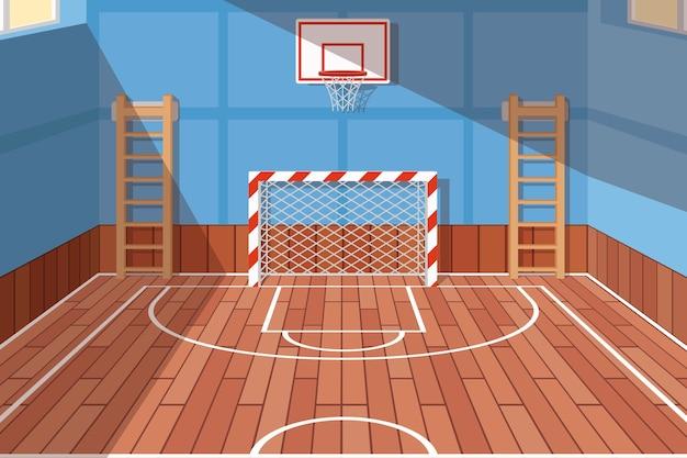 학교 또는 대학 체육관 홀. 축구 및 농구, 학교 홀, 바닥 게임을위한 체육관 코트. 벡터 일러스트 레이 션 무료 벡터