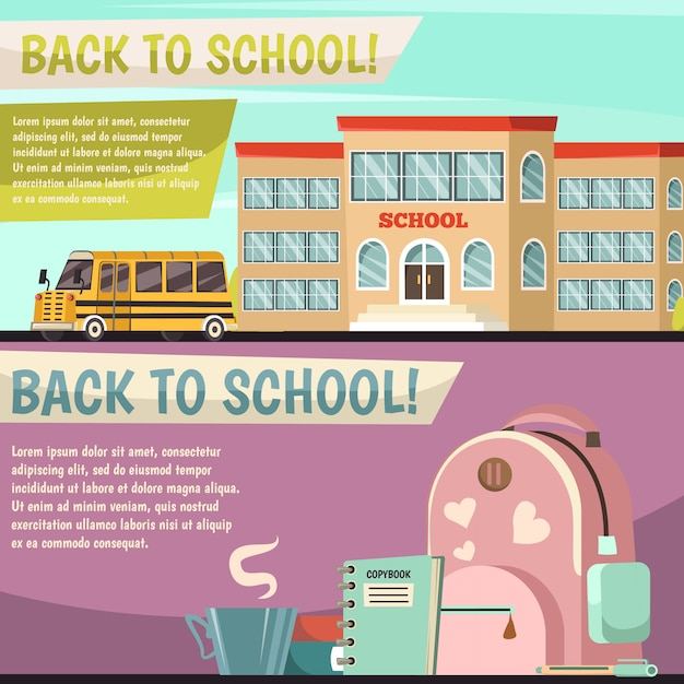 School orthogonal banner set Free Vector