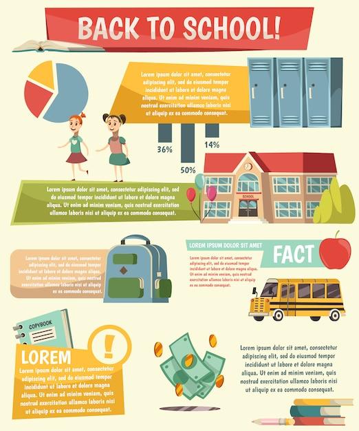 School orthogonal infographics Free Vector