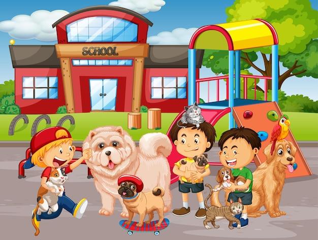 School outdoor scene with group of pet and children Premium Vector