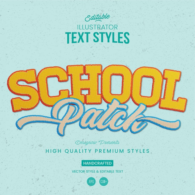 School patch text style Premium Vector