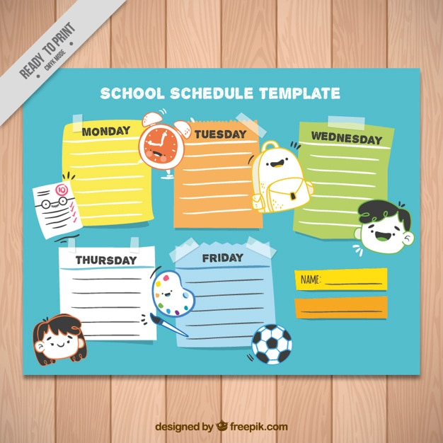 School Schedule Template With Icons And Different Colors Vector