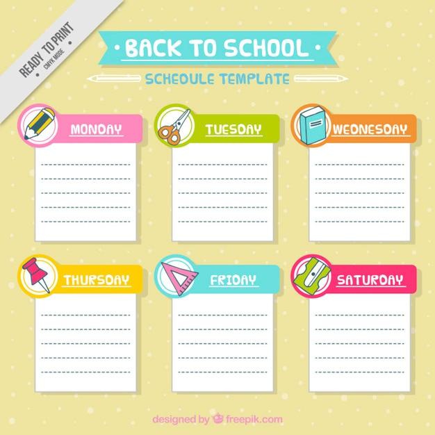 School Schedule Template With Materials Vector Free Download