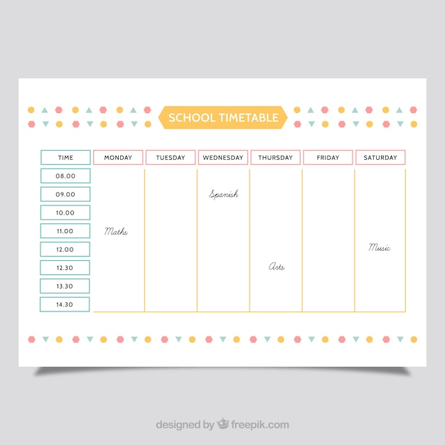 School Schedule Template Vector | Free Download