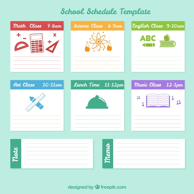 School schedule with blue background